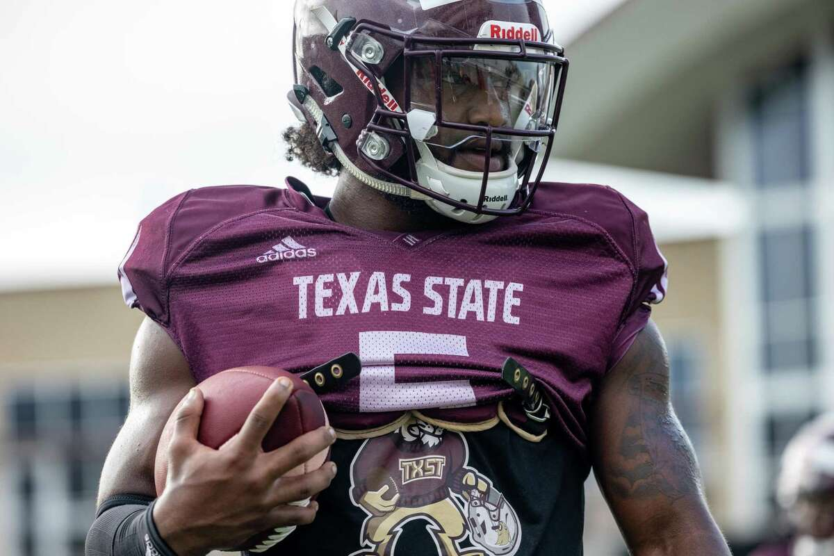 Texas State running back Brock Sturges warms up for an inter-squad scrimmage on Saturday, August 14, 2021, in San Marcos, TX. (Jordan Vonderhaar/Contributor)