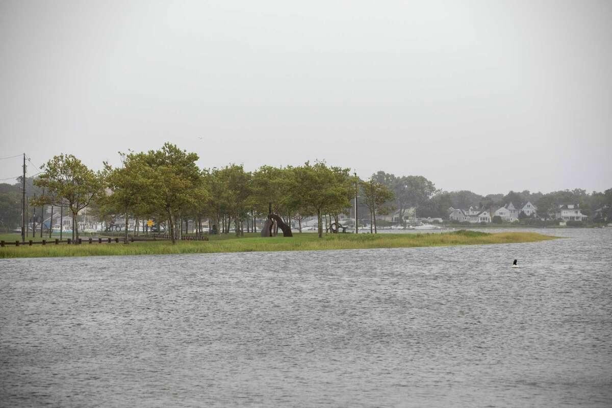 A flooded Veterans Memorial Park in Norwalk during Tropical Storm Henri on Aug. 22, 2021.