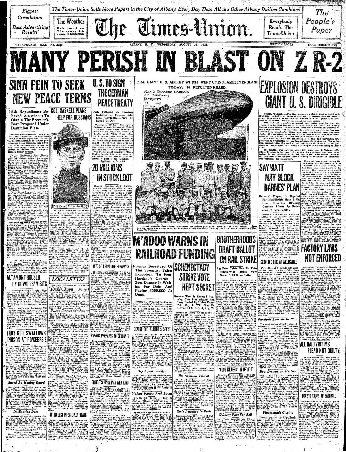 Front page of the Times Union, Aug. 24, 1921.