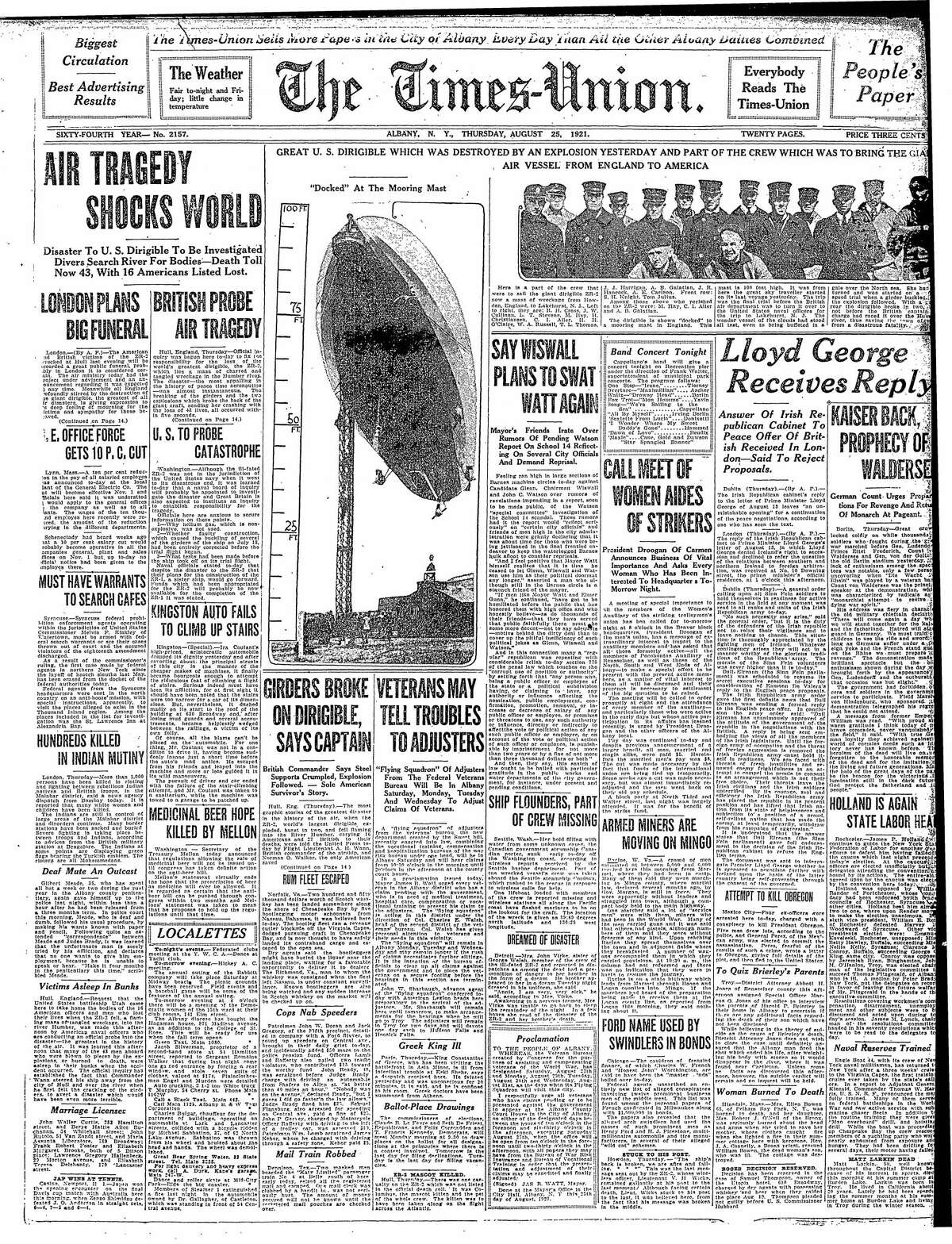 Front page of the Times Union, Aug. 25, 1921.