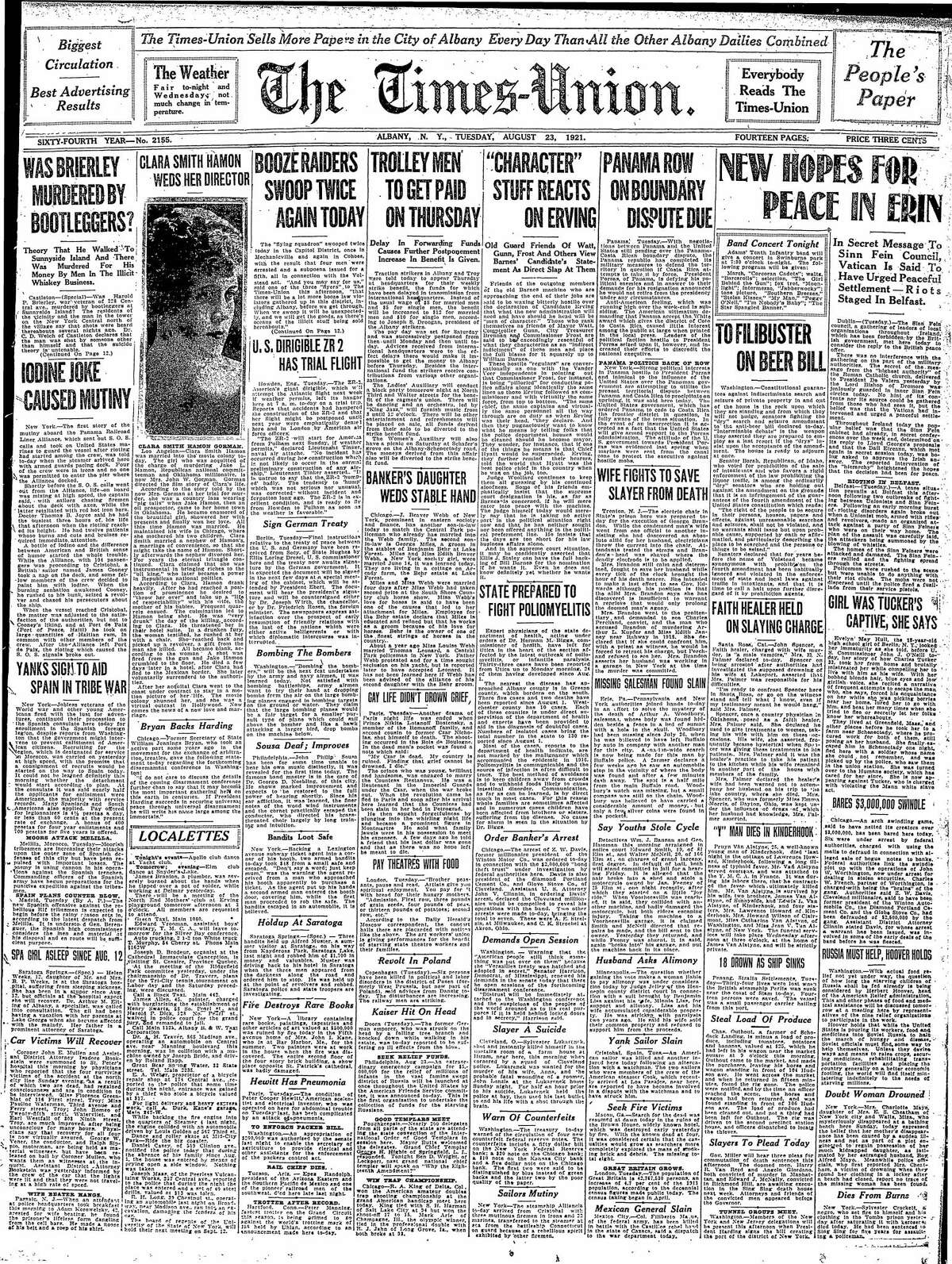 Front page of the Times Union, Aug. 23, 1921.