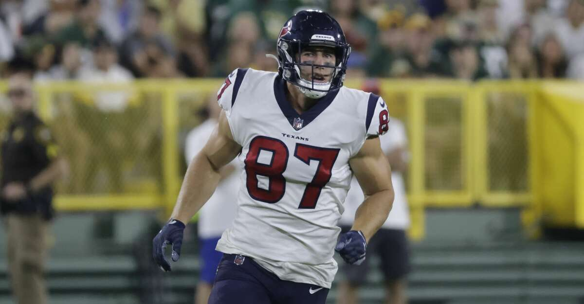 Houston Texans' Kahale Warring runs during the second half of a preseason NFL football game against the Green Bay Packers Saturday, Aug. 14, 2021, in Green Bay, Wis. (AP Photo/Mike Roemer)