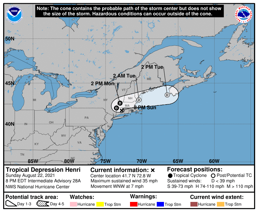 A map showing the center of Tropical Depression Henri near latitude 41.7 north, longitude 72.8 west.