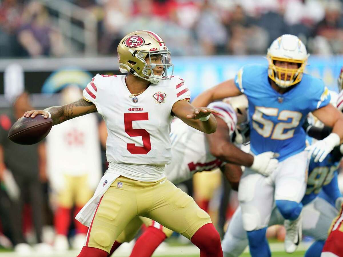 49ers quarterback Trey Lance throws during the first half of a preseason NFL football game against the Los Angeles Chargers Sunday, Aug. 22, 2021, in