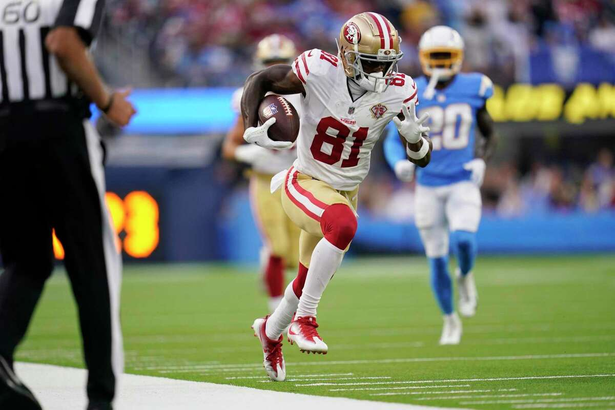 San Francisco 49ers wide receiver Trent Sherfield (81) runs against the Los Angeles Chargers during the first half of a preseason NFL football game Sunday, Aug. 22, 2021, in Inglewood, Calif. (AP Photo/Ashley Landis )