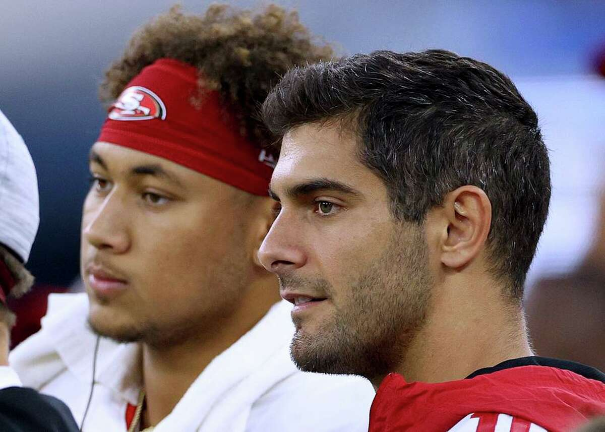 Neither Trey Lance nor Jimmy Garoppolo were able to avoid throwing an interception against the Chargers on Sunday.