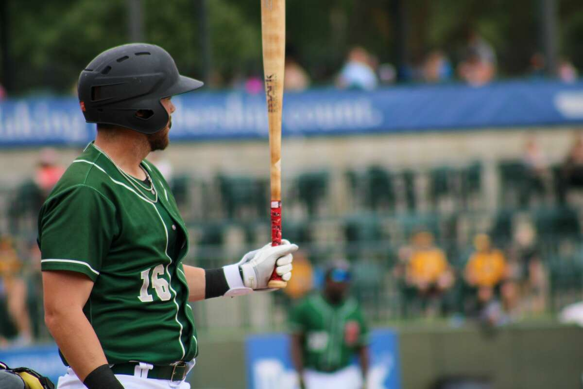Loons first baseman Brandon Lewis sets to hit against Lansing on Aug. 22 at Dow Diamond (Austin Chastain/austin.chastain@hearstnp.com)