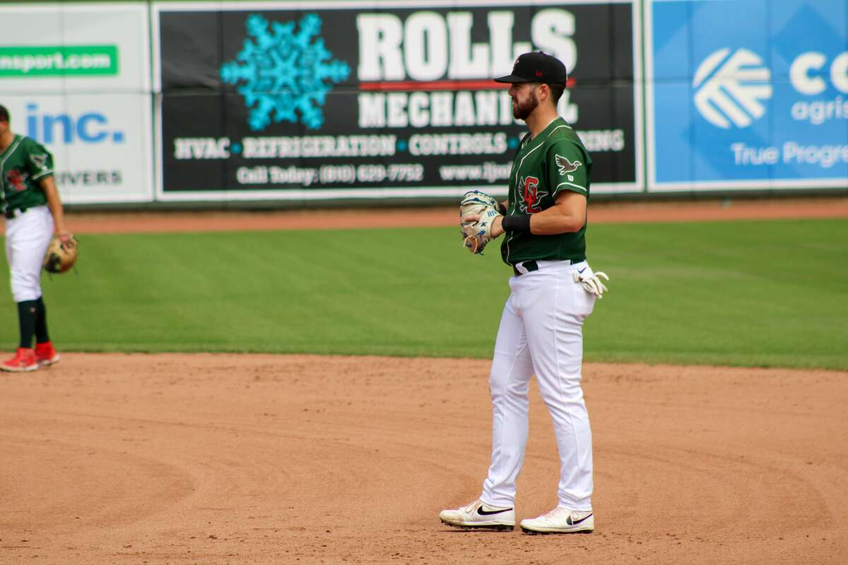 Loons first baseman Brandon Lewis awaits to defend against Lansing on Aug. 22 at Dow Diamond (Austin Chastain/austin.chastain@hearstnp.com)