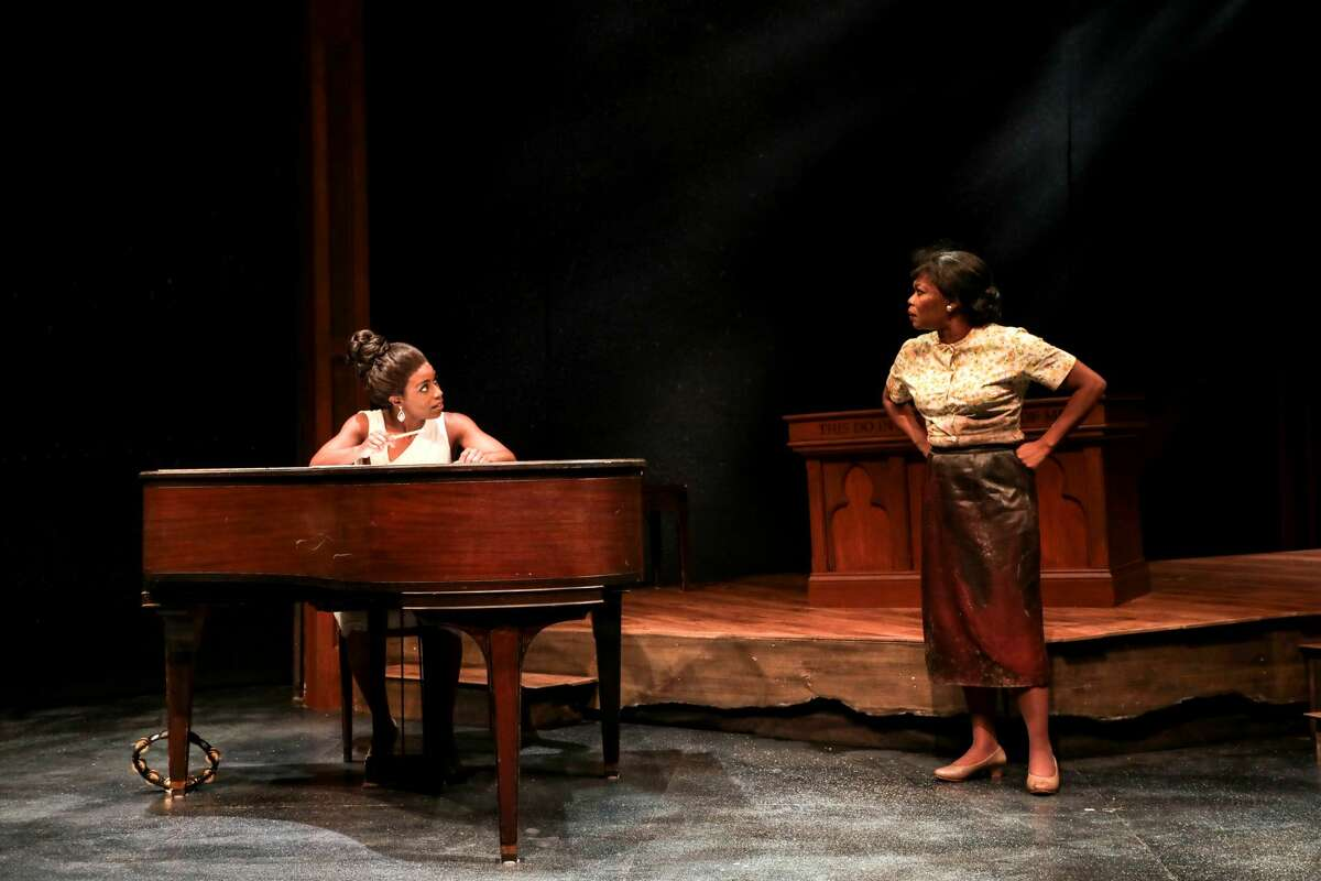 """Felicia Curry, left, and Darlesia Cearcy in """"Nina Simone: Four Women,"""" running at Berkshire Theatre Group through Sept. 5, 2021."""