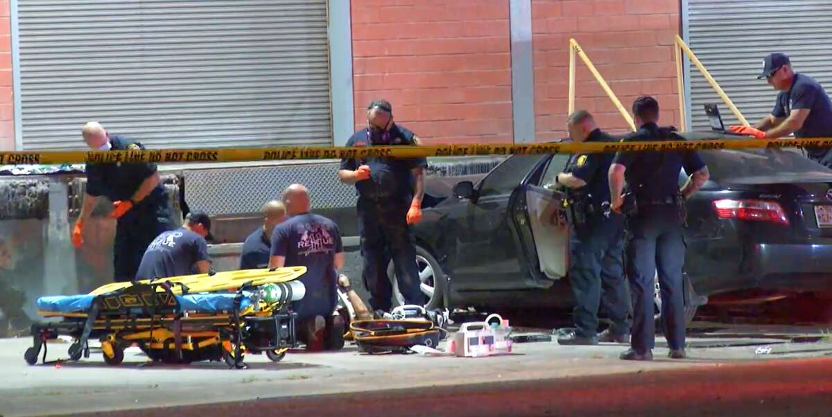 One woman has died after crashing into the Mission City Container building's loading dock early Monday morning, San Antonio police said.
