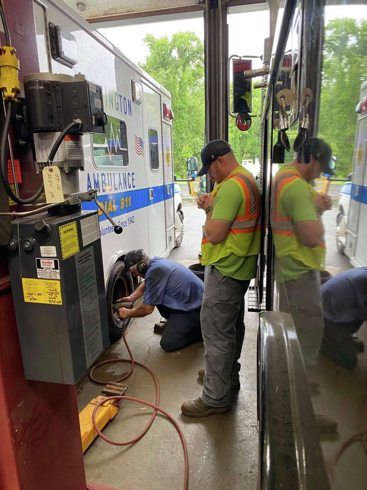 Repairs were needed on an ambulance after a tire blowout on Route 7 while transporting patients to Danbury Hospital following a crash on Route 202 in Washington, Conn., on Sunday, Aug. 22, 2021.