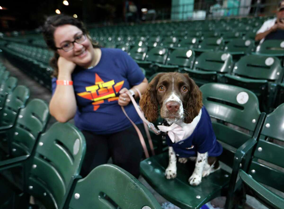 """""""Banks"""" the dog sits in the seats with owner Kayla Lee during Dog Day at the Park before the start of an MLB baseball game at Minute Maid Park, Sunday, August 22, 2021, in Houston."""