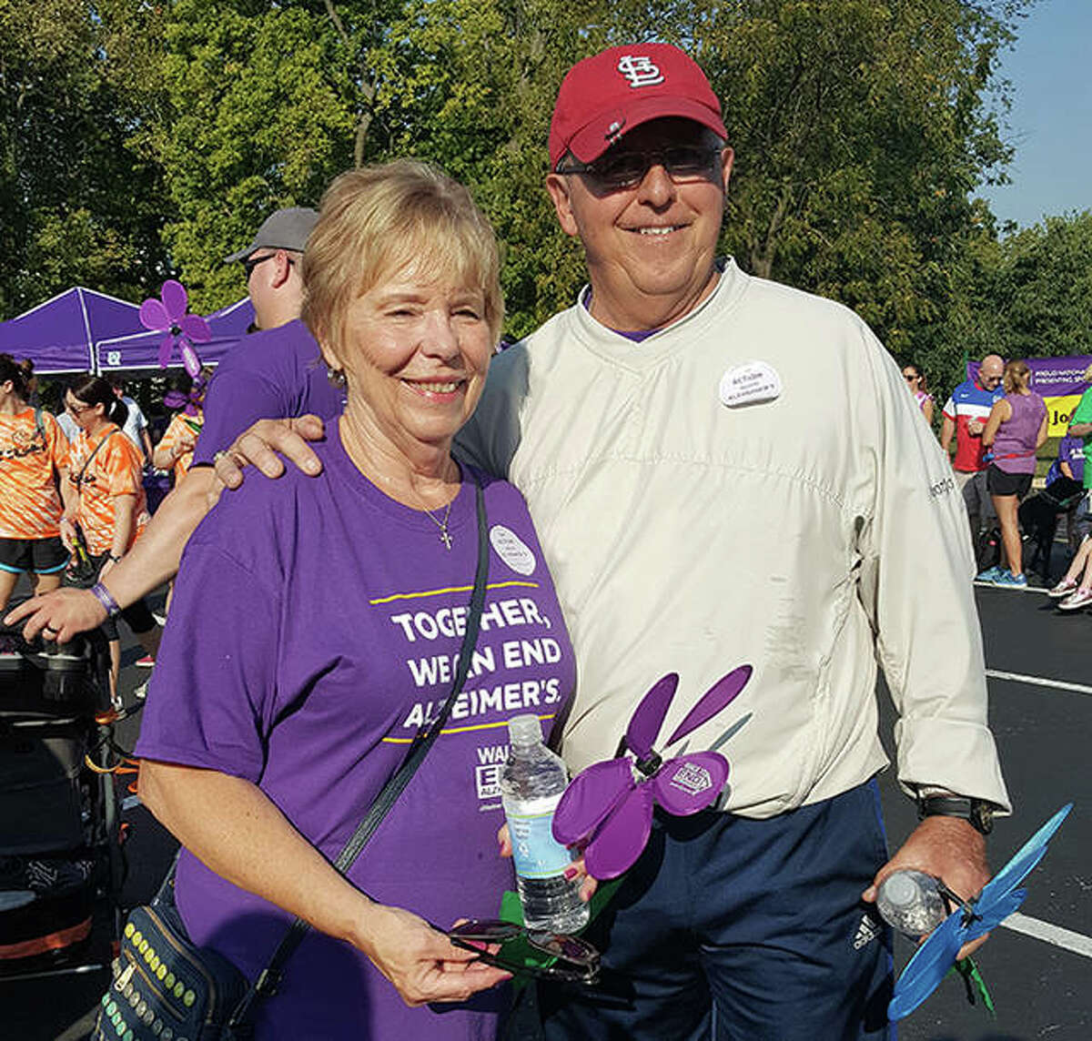 The late John Ostanik, right, with his wife, Mary Jane, at the 2017 Walk to End Alzheimer's in Edwardsville. Ostanik died from Alzheimer's on Feb. 17, 2021.