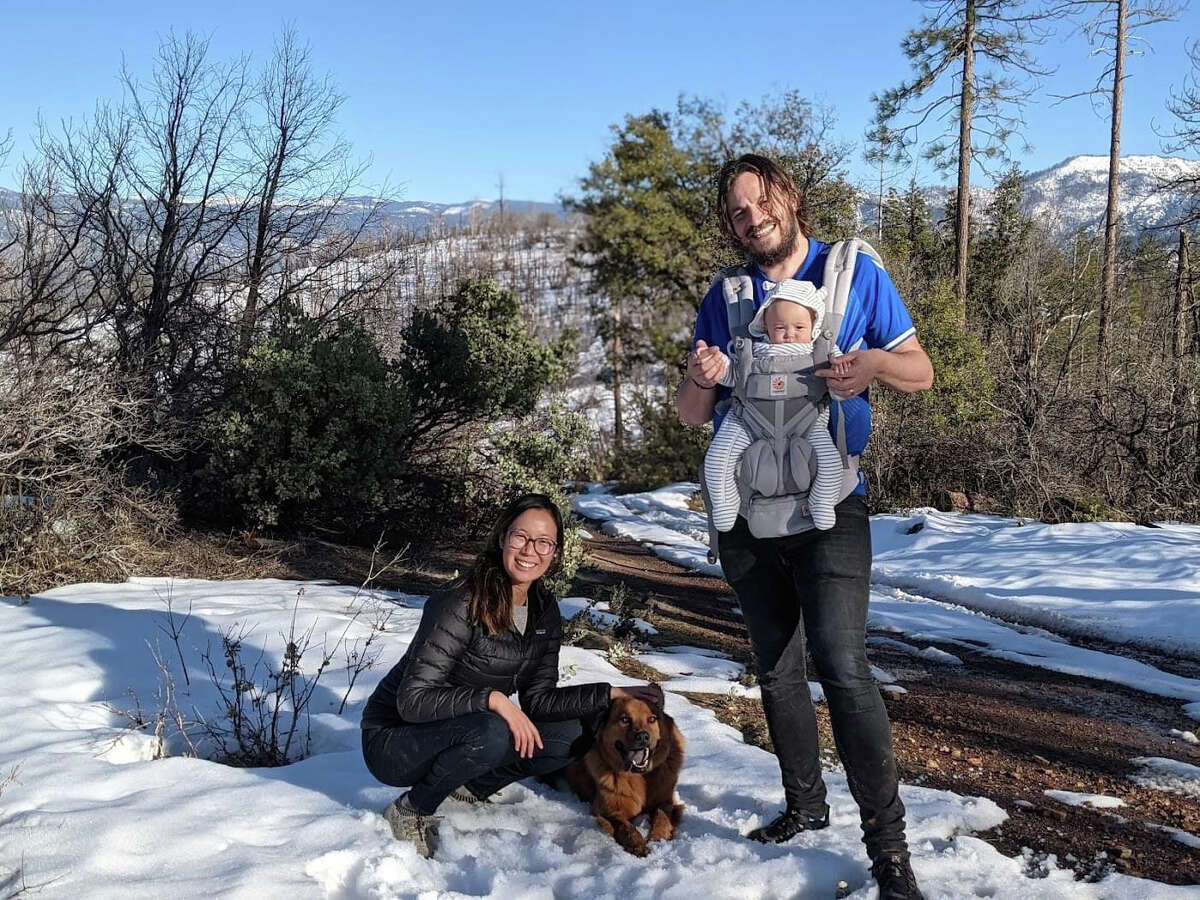 A photo of Ellen Chung, left, and Jonathan Gerrish, holding their 1-year old daughter, Miju. All were found dead on a hiking trail in Mariposa. The cause of death has not yet been determined.