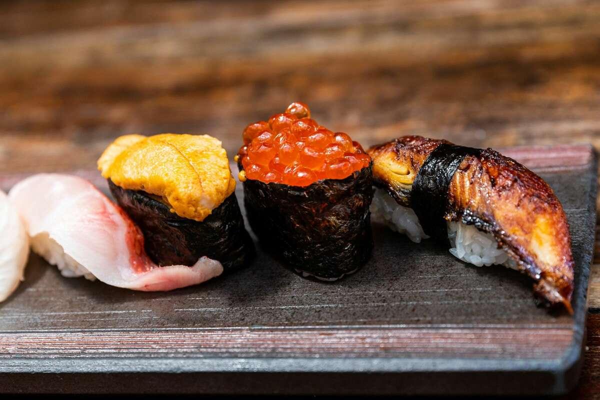 Golden Eye Snapper (Kinmedai), Uni, Salmon Roe, Unagi (freshwater eel) sushi at Kata Robata.
