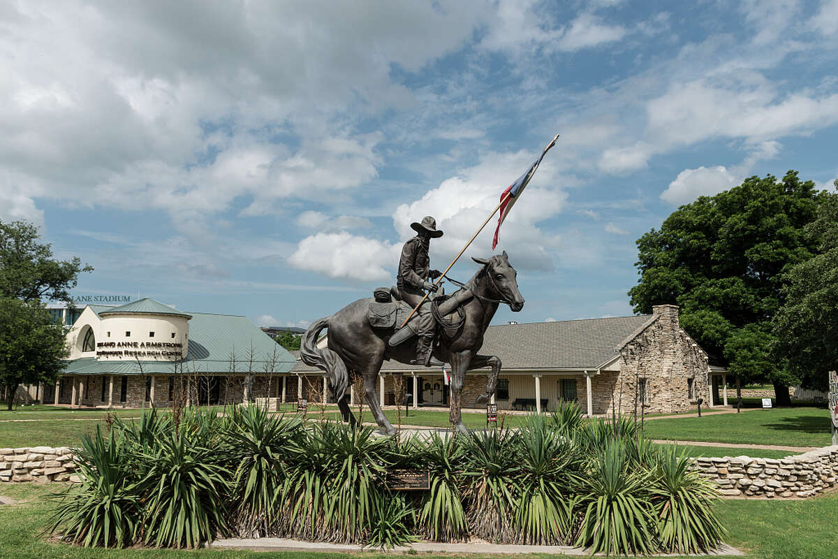 'Texas Ranger,' San Antonio artist Don Hunt's sculpture of a 19th-Century Ranger on horseback greets visitors to theTexas Ranger Hall of Fame and Museum in Waco.