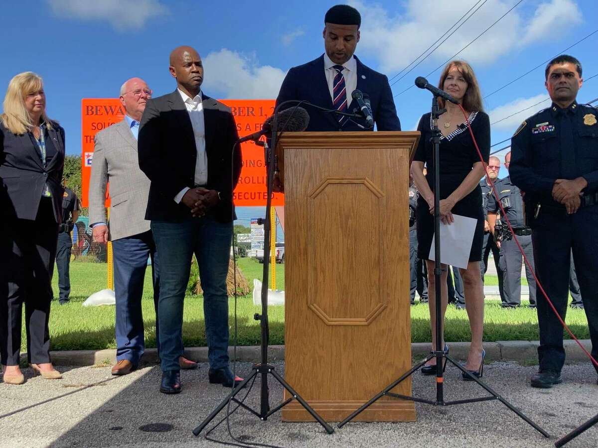 Houston and Harris County officials announce beefed up effort to halt prostitution along the notorious Bissonnet Track during a press conference, on Monday, Aug. 23, 2021, in Houston. Soliciting a sex worker is now a felony. Texas is the first state to bump it up from a misdemeanor.