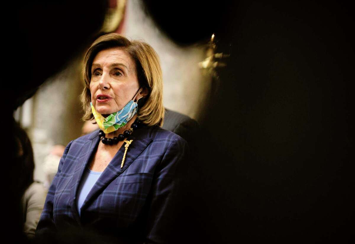 Speaker of the House Nancy Pelosi talks with reporters at the Capitol in Washington, D.C, on July 30, 2021.