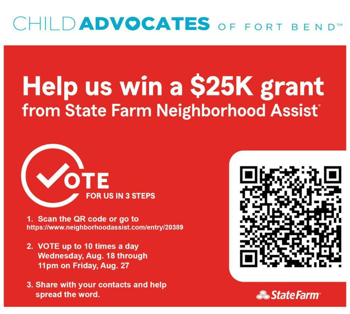 Please share this event with your colleagues, friends, and family to help spread the word and vote for Child Advocates of Fort Bend.