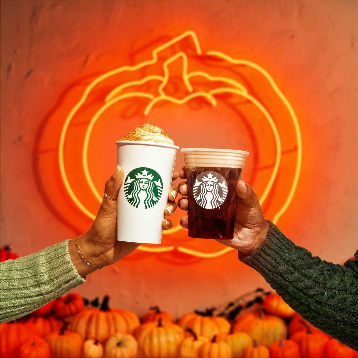The popular pumpkin spice latte, left, is back at Starbucks for the fall, along with the pumpkin cream cold brew.