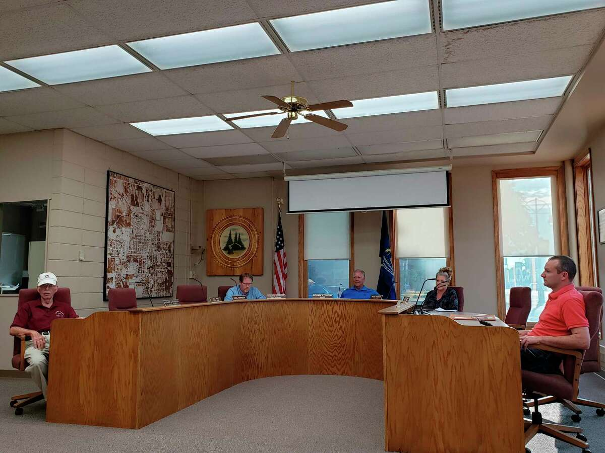 The Bad Axe City Council before their meeting on Monday evening, where they approved purchasing three disc golf targets for use as a nine-hole disc golf course. The location and opening date for the course have yet to be finalized. (Robert Creenan/Huron Daily Tribune)