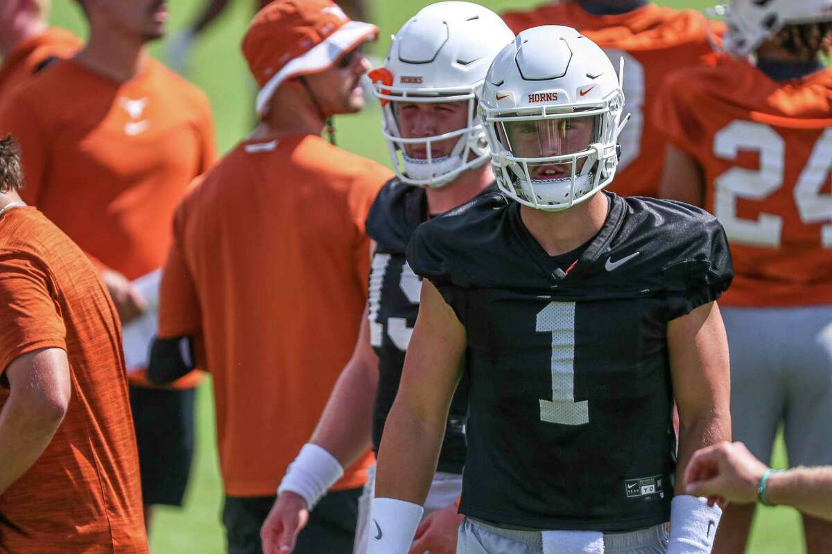 Texas quarterback Hudson Card (11) attends an NCAA college football practice Saturday, Aug. 7, 2021, in Austin, Texas. (Aaron E. Martinez /Austin American-Statesman via AP)