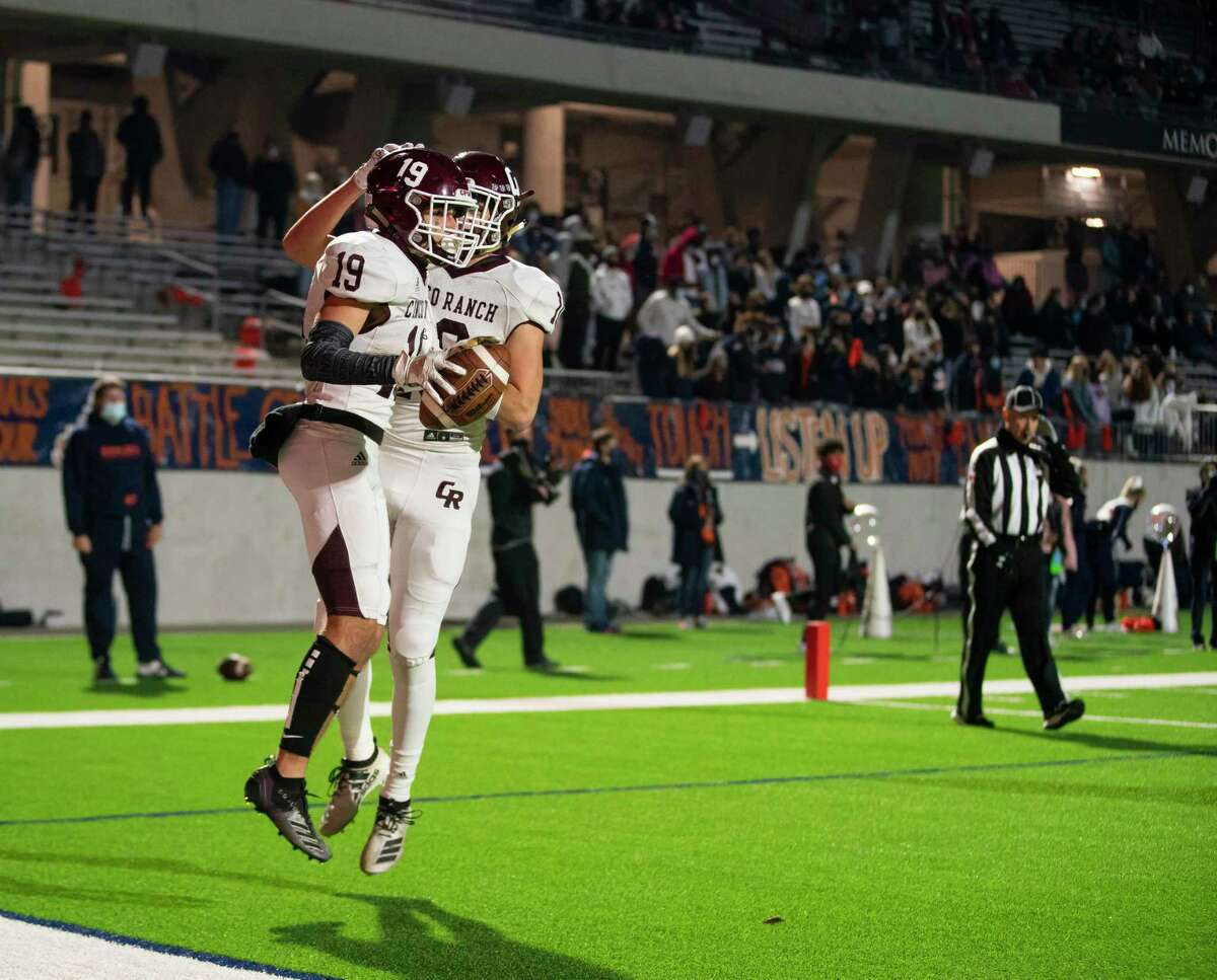 Cinco Ranch wide receiver Noah Abboud celebrates a touchdown during the second half of Seven Lakes High School's 30-22 win over Cinco Ranch High School on Friday, Dec. 4, 2020, at Legacy Stadium in Katy, TX.