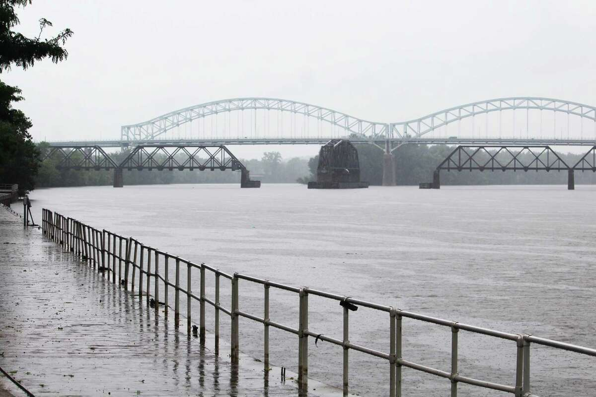 The Connecticut River at Harbor Park in Middletown was well below flood stage Monday morning, after the area was largely spared by Tropical Storm Henri.