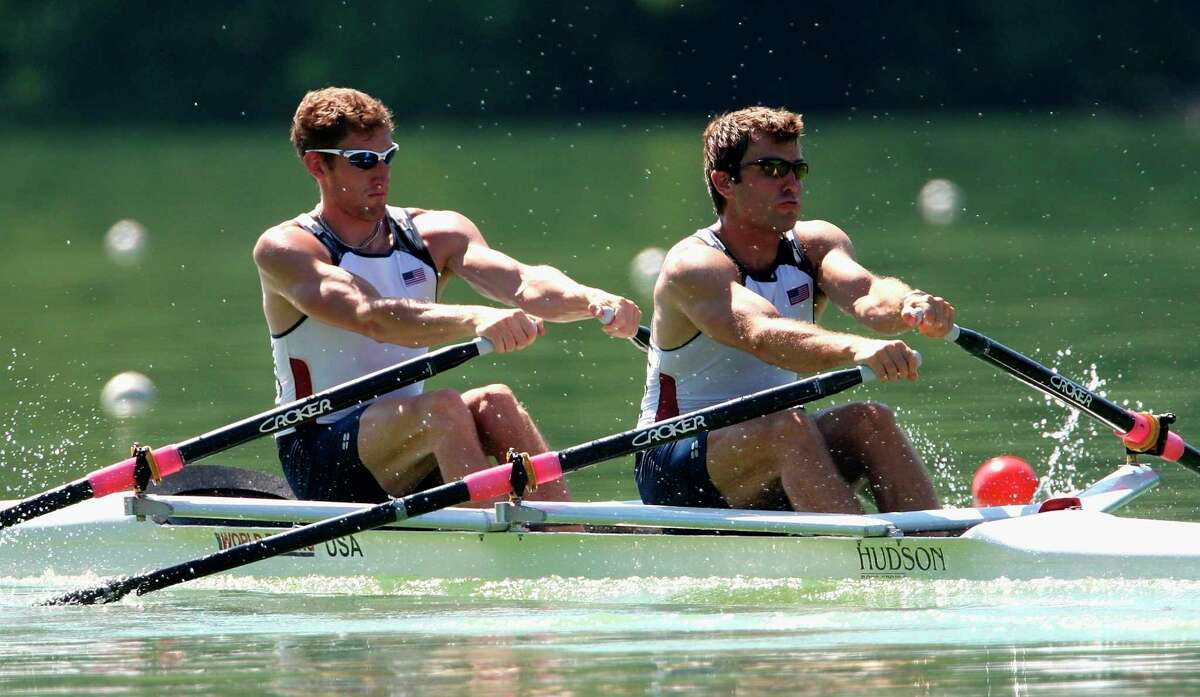 LUCERNE, SWITZERLAND - JULY 14: Samuel Stitt (L) and Matthew Hughes of USA in action in the Men's Double Sculls Semifinal A/B 1 during day 2 of the FISA Rowing World Cup at the Rotsee on July 14, 2007 in Lucerne, Switzerland. (Photo by Hamish Blair/Getty Images)