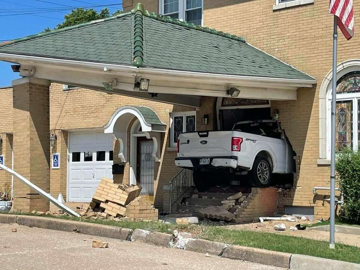 No one was seriously hurt after a man driving a white Ford pickup truck crashed through the front doors of Kassly-Meridith Funeral Home in Collinsville.