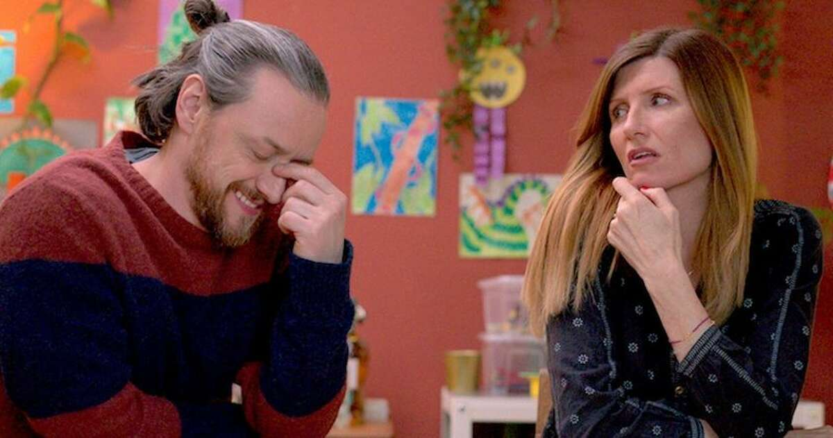 """The pandemic lockdown in two expressions. James McAvoy and Sharon Horgan weather the COVID-19 quarantine """"Together"""" in this comedy-drama that first aired on the BBC in Great Britain in June and now comes to U.S. movie screens."""