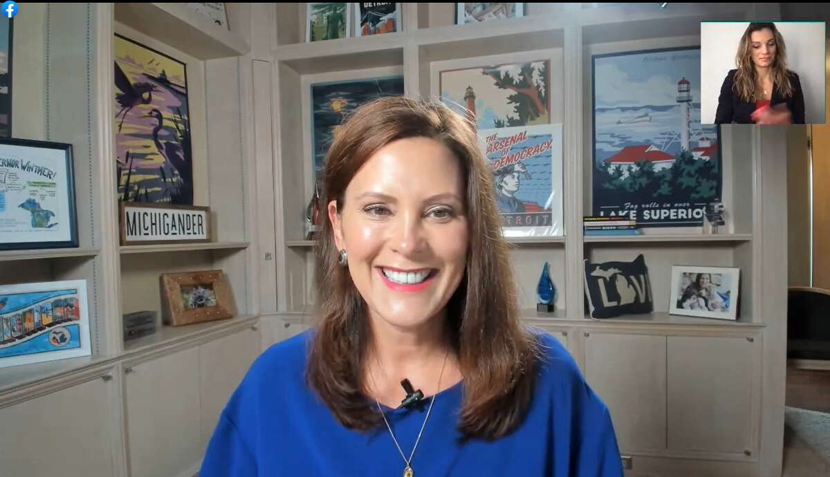Gov. Gretchen Whitmer appears in a video posted to Facebook Monday, Aug. 23, 2021 to announce winners of the MI Shot to Win Sweepstakes.