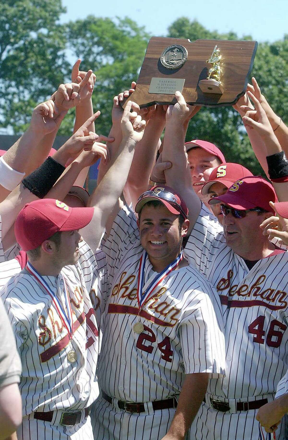 Former Sheehan baseball coach Matt Altieri, front center, is the new head coach at The Hotchkiss School in Lakeville.
