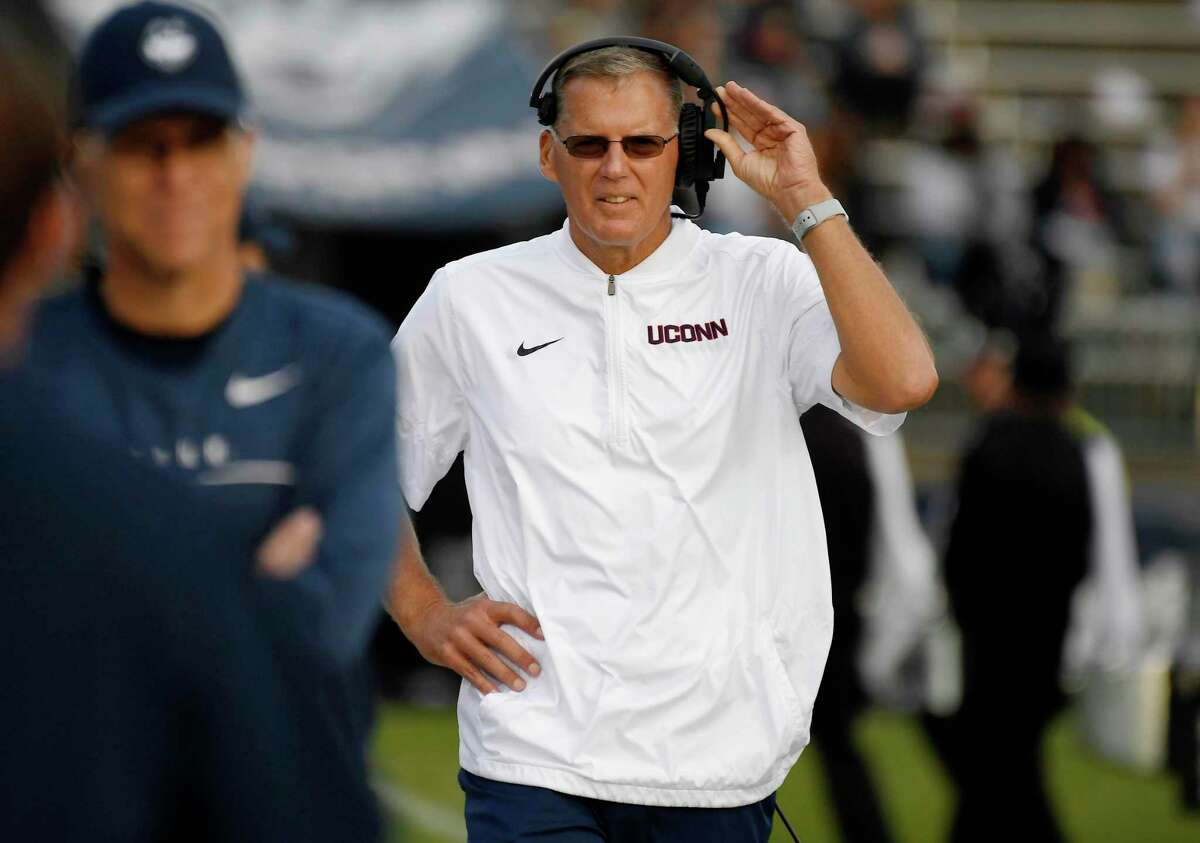 Connecticut head coach Randy Edsall walks the sideline during the second half of an NCAA college football game against Illinois, Saturday, Sept. 7, 2019, in East Hartford, Conn. (AP Photo/Jessica Hill)