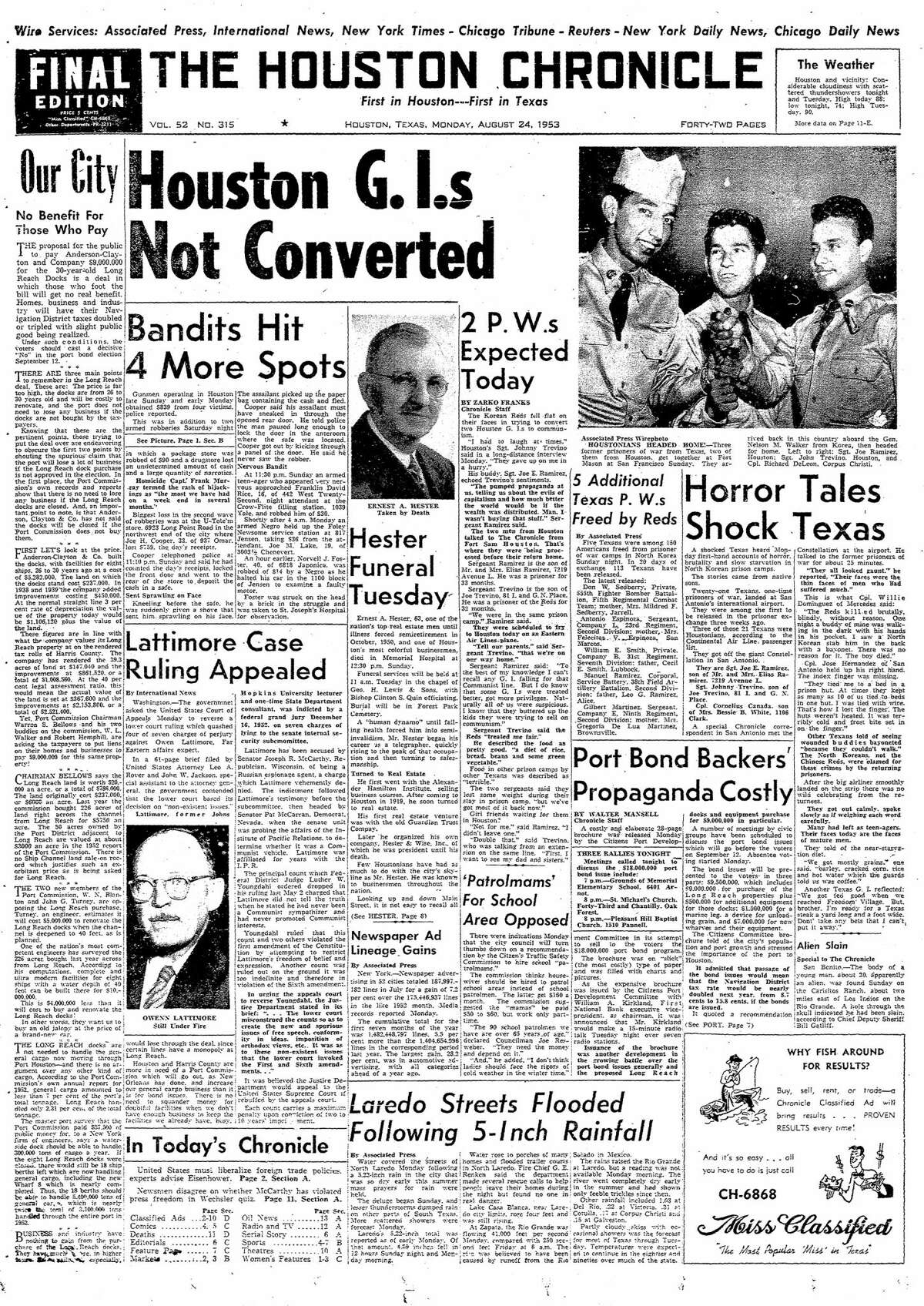 Houston Chronicle front page from Aug. 24, 1953.
