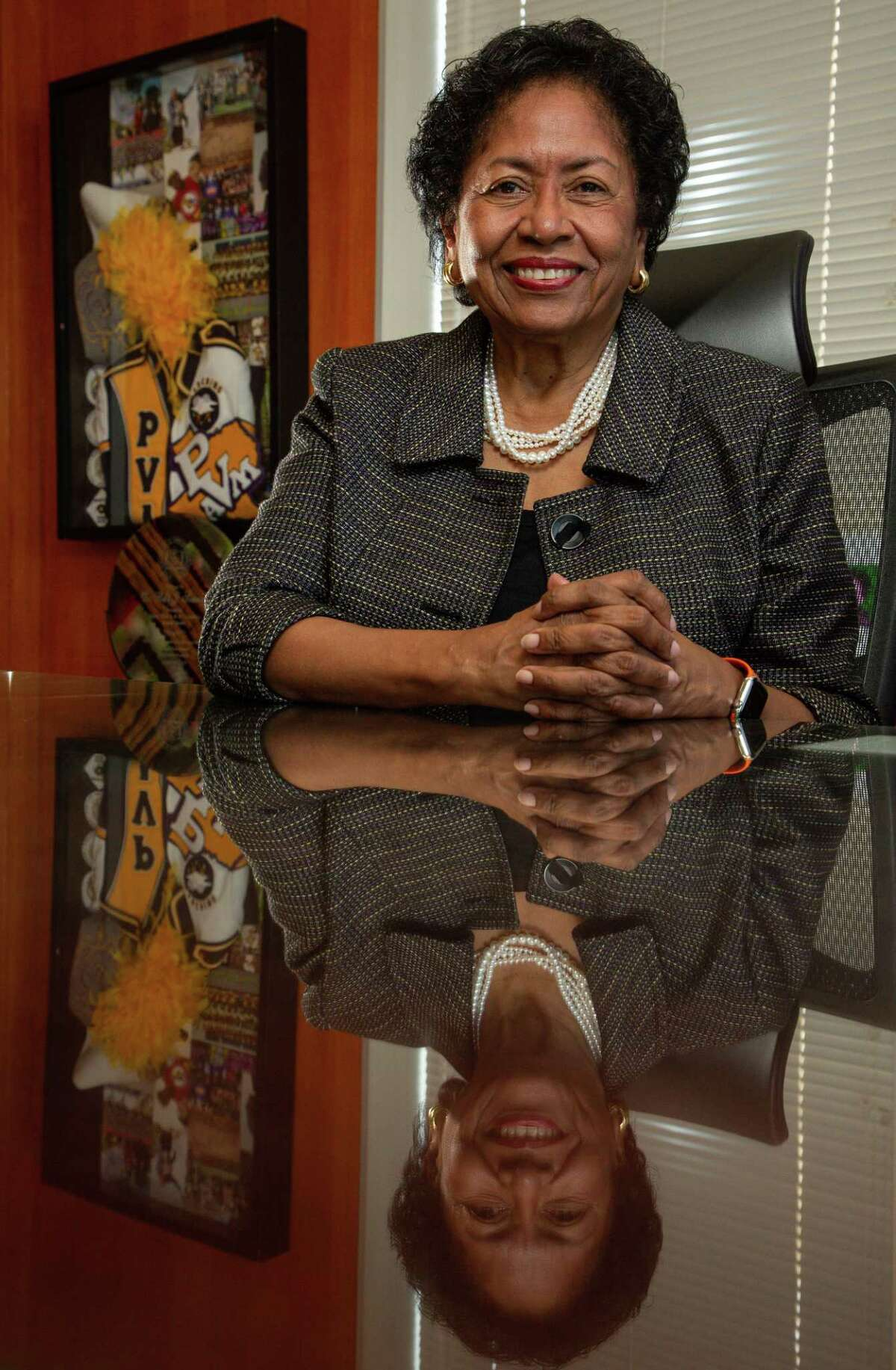 Ruth J. Simmons - president of Prairie View A&M University - poses for a photograph inside her office on Monday, Aug. 16, 2021, in Prairie View. After completing her Ph.D. in Romance Languages and Literatures at Harvard, Simmons served in various faculty and administrative roles at the University of Southern California, Princeton University, and Spelman College before becoming president of Smith College, the largest women's college in the United States. At Smith, she launched a number of important academic initiatives, including an engineering program - the first at an American women's college.