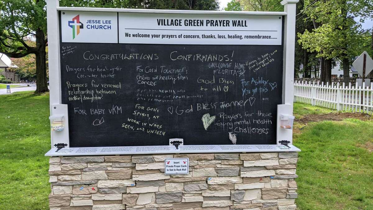The prayer wall, which was first installed at Jesse Lee Memorial United Methodist Church in Ridgefield in May, is returning to the corner of Main Street and King Lane from Aug. 30 through Sept. 13.