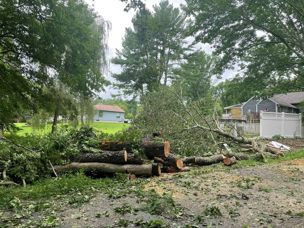 Damage caused by Tropical Storm Henri to a home on Old Plainfield Road in Canterbury as observed Monday, Aug. 23, 2021.