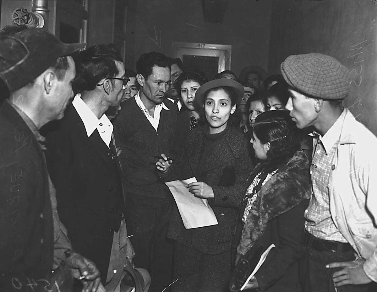"""Emma Tenayuca (center) will be included in a new exhibit by the Mexican American Civil Rights Institute called """"Chispas"""" to open next month. It will showcase 40 Mexican American civil rights trailblazers, including famed labor leader Tenayuca."""