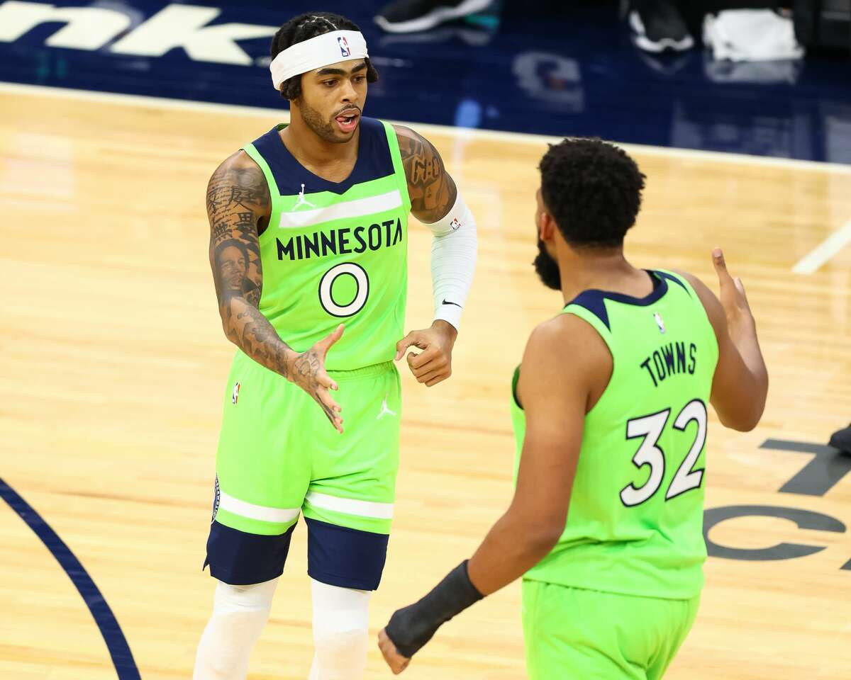 The Timberwolves, with just one playoff appearance since 2004, hope to keep stars D'Angelo Russell (0) and Karl-Anthony Towns healthy as they look to leave lottery life.