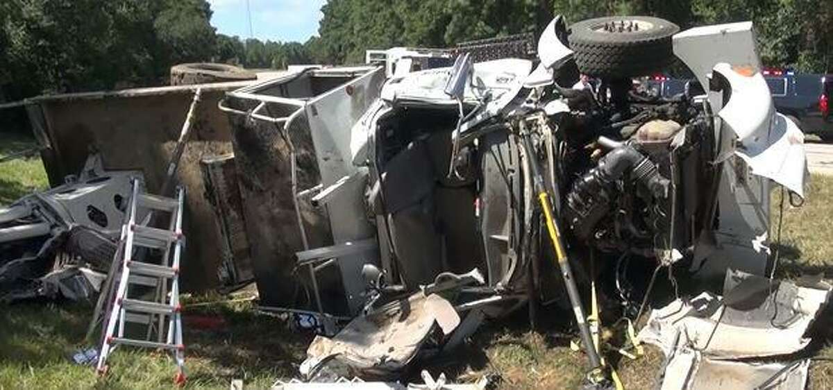 A Ford F750 fell on its side in a ditch as it was driving a curve on FM 2854, leaving the driver dead.