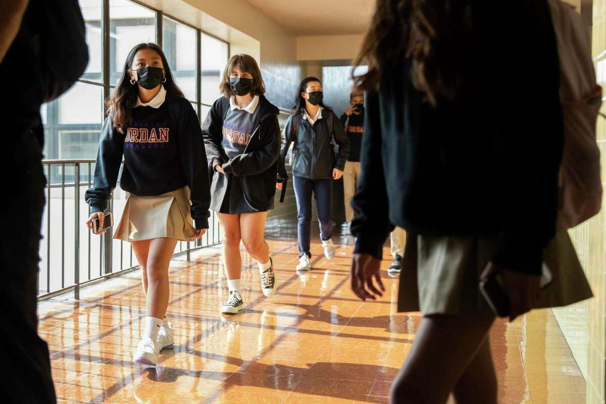 Female students join boys for the first year of coed in-person classes at Archbishop Riordan High.. The San Francisco school is the last of the historic Roman Catholic boys high schools in the city enroll girls.