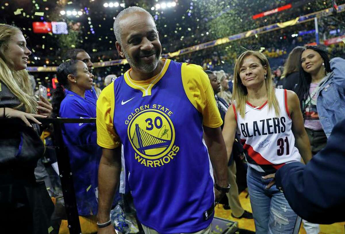 Golden State Warriors' Stephen Curry's parents Dell and Sonya after Warriors' 116-94 win over Portland Trail Blazers in Game 1 of NBA Western Conference Finals at Oracle Arena in Oakland, Calif., on Tuesday, May 14, 2019.