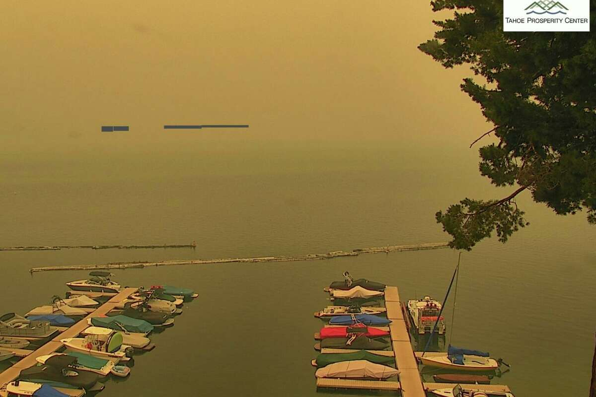 A screenshot from ALERT Wildfire of Fallen Leaf Lake in South Lake Tahoe on Monday, August 23, 2021. Smoke from the Caldor Fire has made its way east and covered the South Lake Tahoe area.