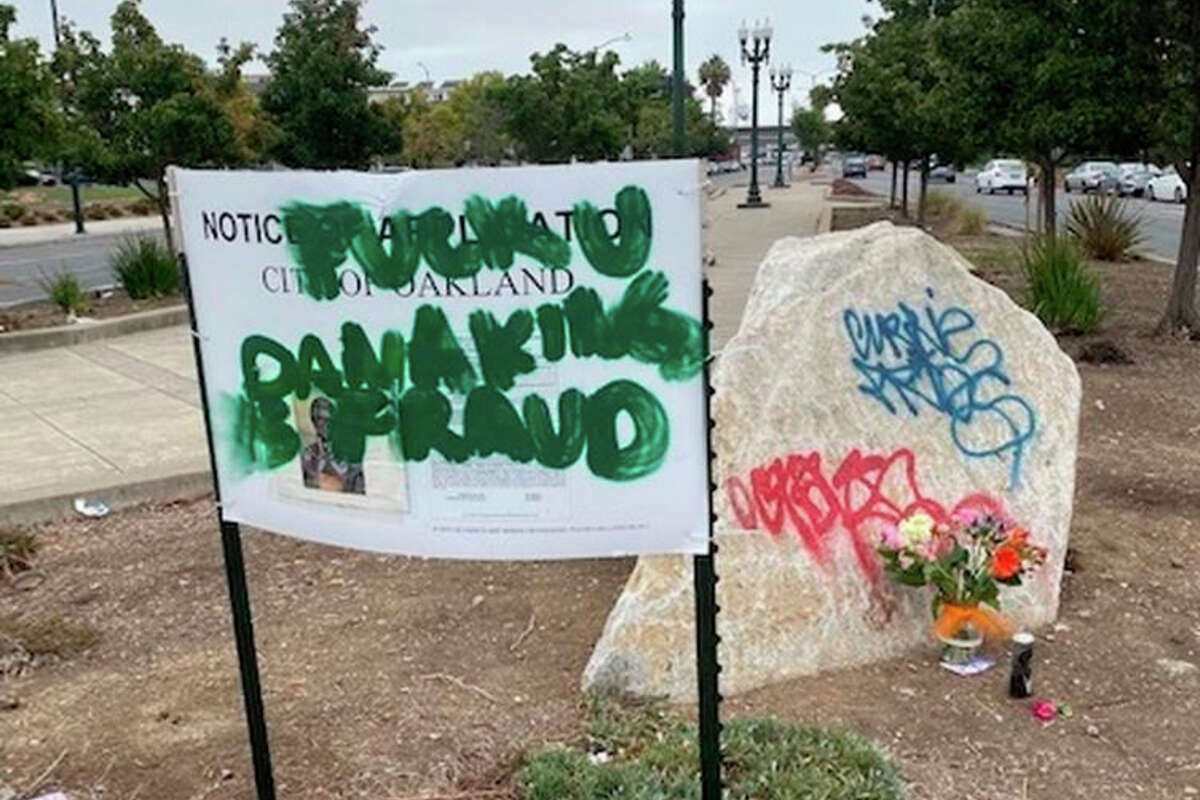 An area designated for a bust honoring Dr. Huey P. Newton, the co-founder of the Black Panther Party, in Oakland was vandalized, according to his widow.