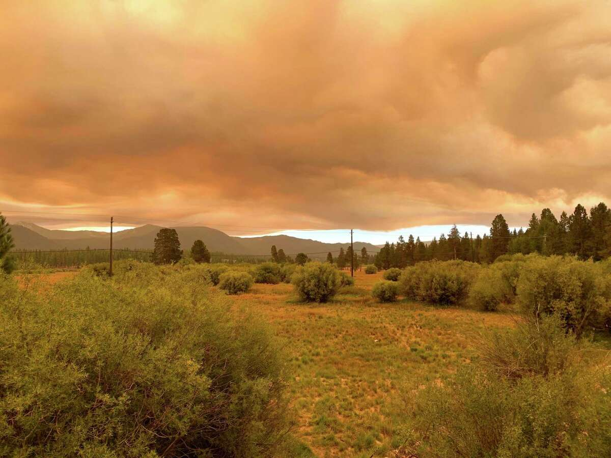 Smokey skies from the Caldor Fire seen outside of South Lake Tahoe on Tuesday, August 17, 2021 photos were taken last Tuesday when the fire exploded in size. Photo by Mike Peron