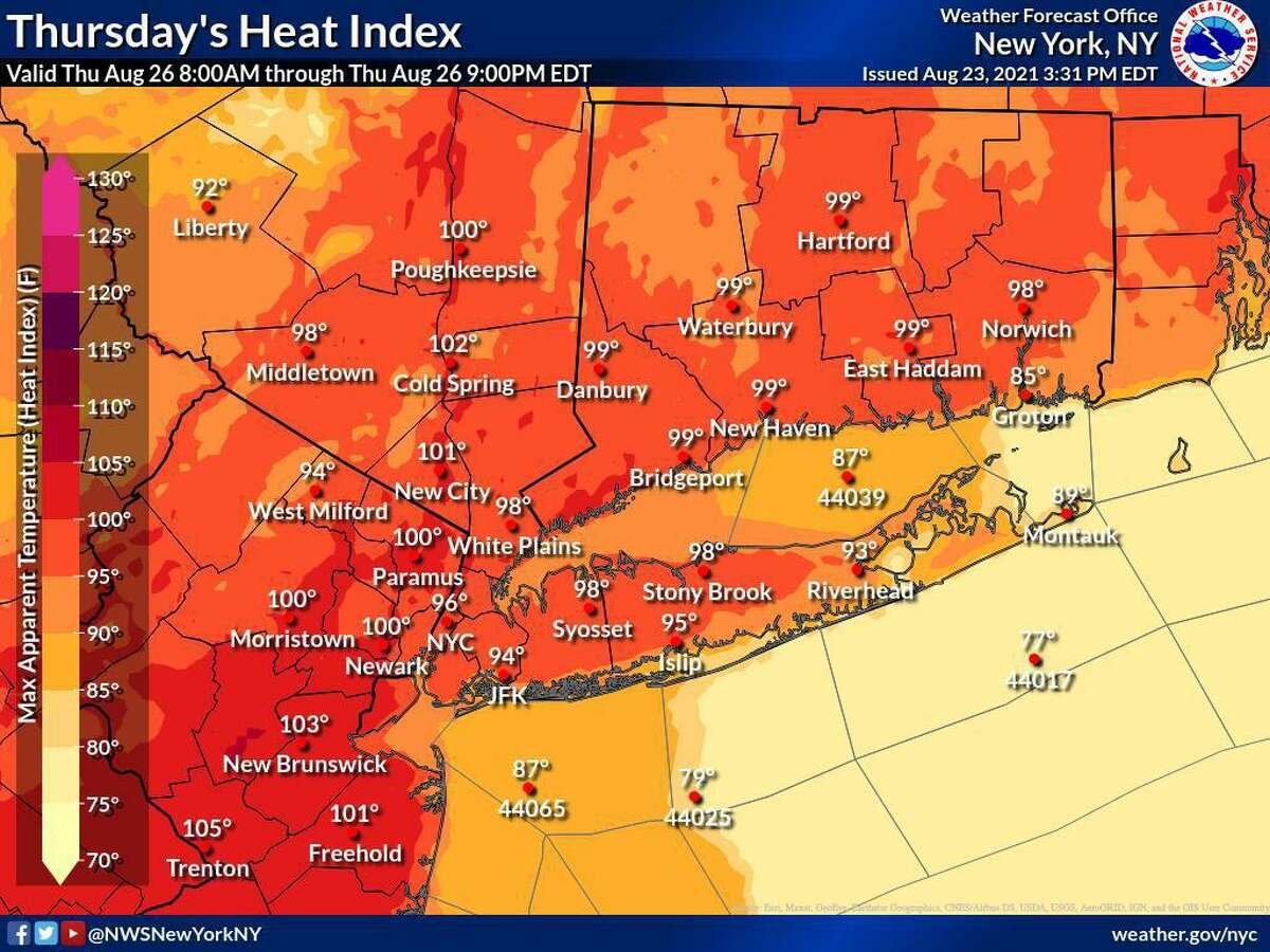 The National Weather Service said the maximum heat index values will be reached between 1 p.m. and 7 p.m. daily, with humid conditions expected Tuesday through Thursday this week across Connecticut.