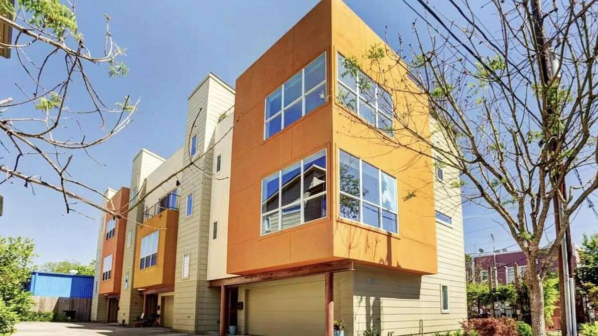 The townhouse for rent is the corner unit in a five-unit building.