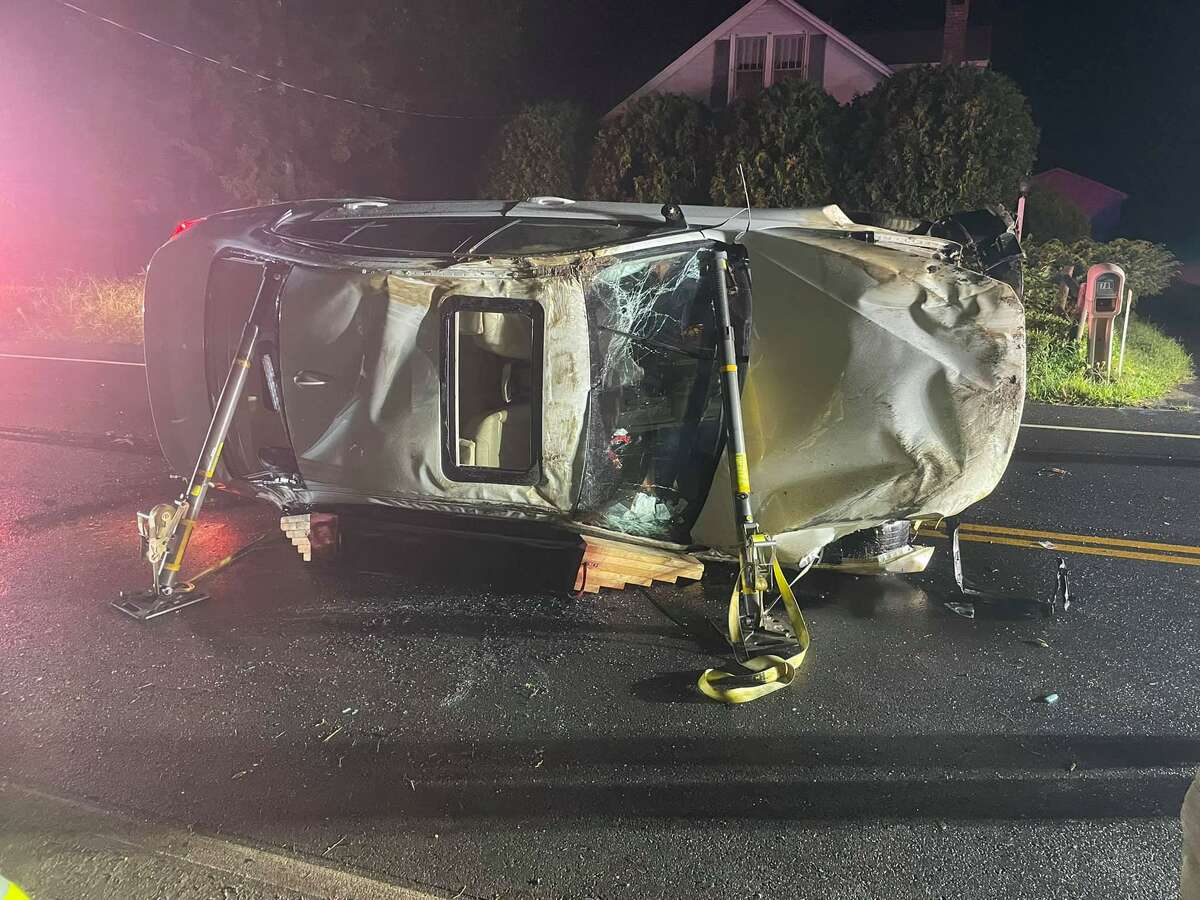 One person suffered minor injuries in a rollover near Ellington Road and Northview Drive in South Windsor, Conn., on Tuesday, Aug. 24, 2021, officials said.