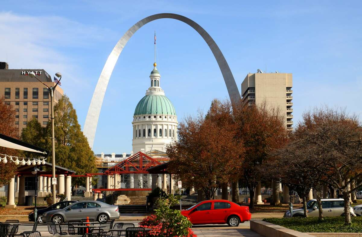 Old Court House and Gateway Arch, as photographed from Citygarden in St. Louis, Missouri (Photo By Raymond Boyd/Michael Ochs Archives/Getty Images)